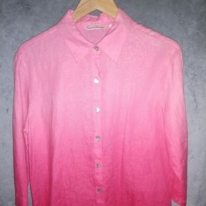 French Laundry | 100% Linen Shirt | M | Rose Red